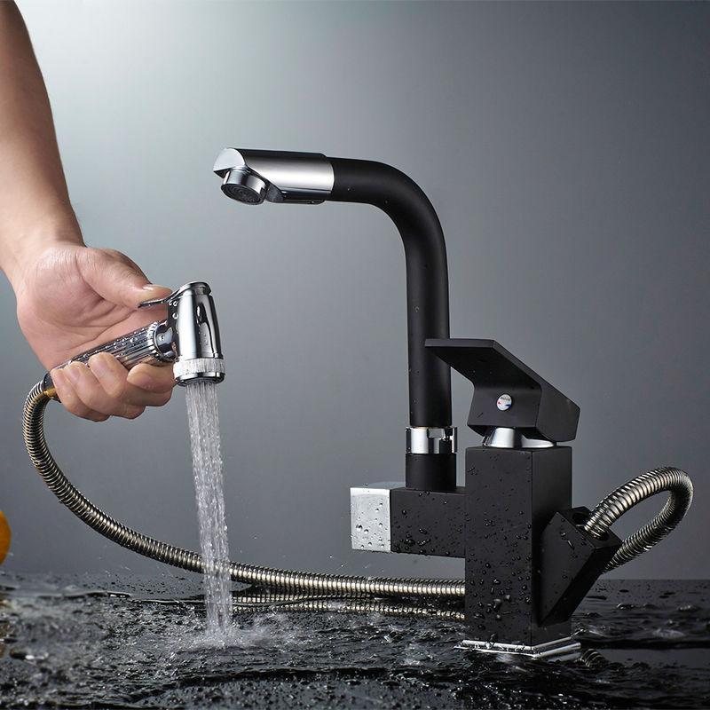 auralum mitigeur de cusine noir avec douchette extractible robinet mitigeur lavabo 2 sortie eau rotatif 360 robinetterie evier