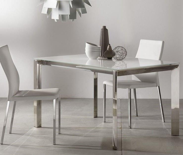 Table Repas Extensible Titanium 160 X 90 Cm Verre Blanc Et