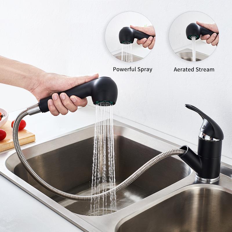 auralum robinet de cuisine 360 rotatif mitigeur d evier noir avec douchette extractible 2 jets au choix