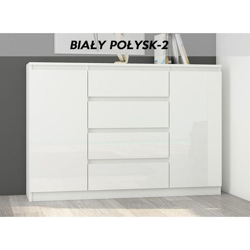 porto w2 commode contemporaine meuble rangement chambre sejour 140x40x98 4 tiroirs 2 portes finition gloss buffet blanc gloss blanc