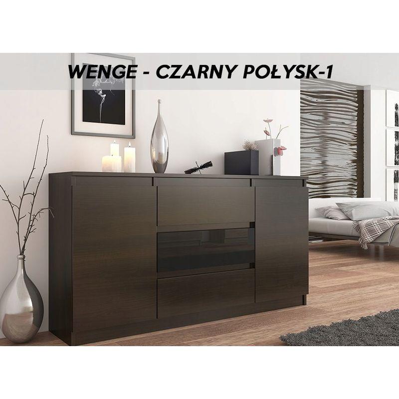 hucoco albi 1w commode style contemporaine 140x40x76 meuble de rangement buffet chambre salon 3 tiroirs 2 portes gloss wenge noir gloss
