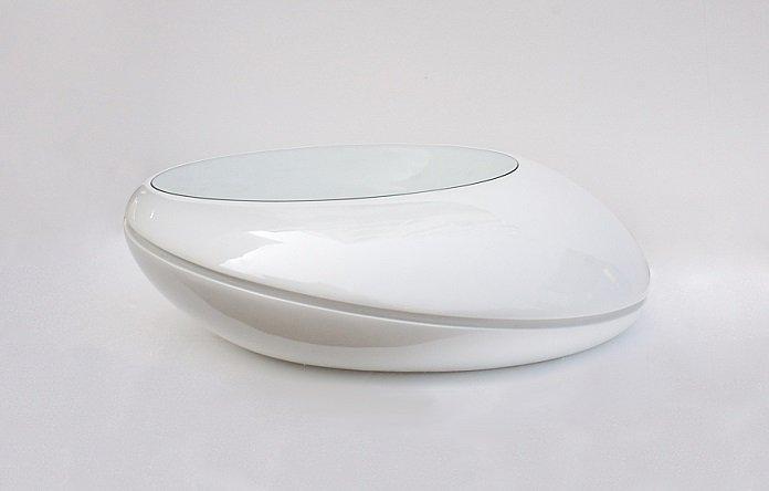 galet table basse design blanc avec