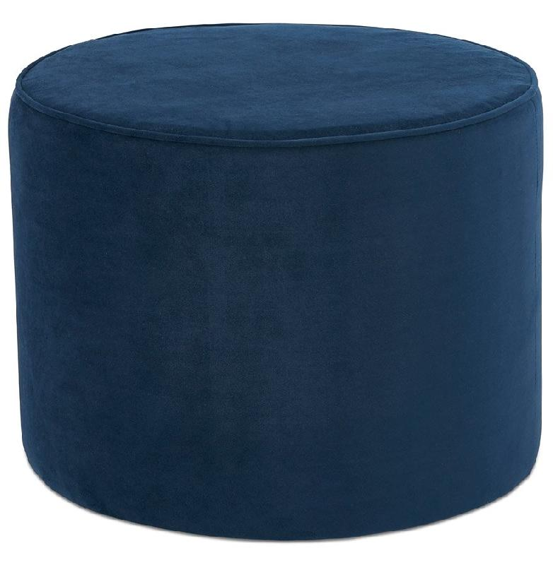 pouf repose pied design mostra en velours bleu petrole