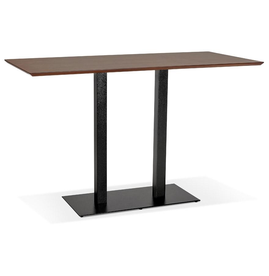 table haute design zumba bar en bois finition noyer avec pied en metal noir 180x90 cm