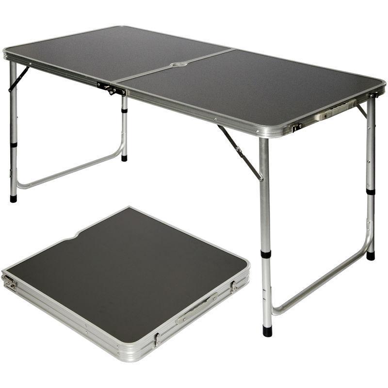 amanka table de camping pique nique pliable reglable en hauteur 120x60x70cm en aluminium pliant format mallette gris fonce