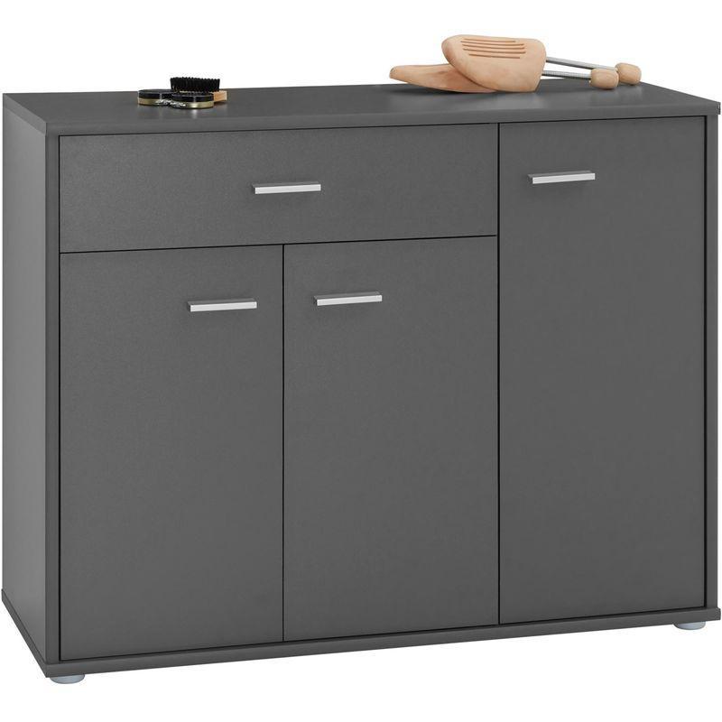 meuble a chaussures camille commode meuble de rangement avec 1 tiroir et 3 portes en melamine gris mat idimex