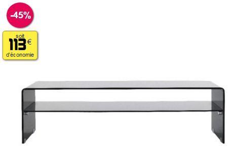 meuble tele verre fume 140 x 40 x 40 cm