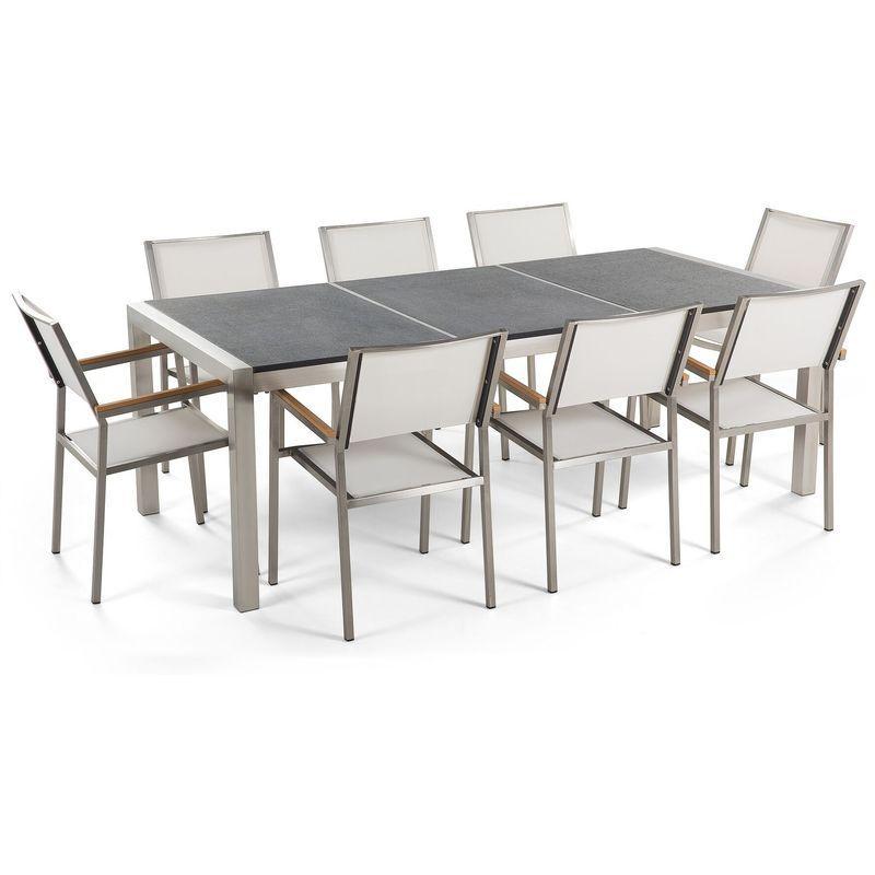 beliani table de jardin acier inox plateau granit triple noir flambe 220 cm avec 8 chaises en textile blanc grosseto