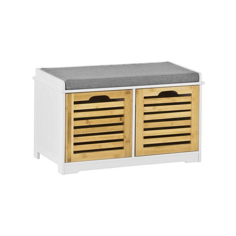 banc de rangement avec coussin rembourre et 2 cubes meuble d entree commode a chaussure banquette confortable sobuy fsr23 k wn