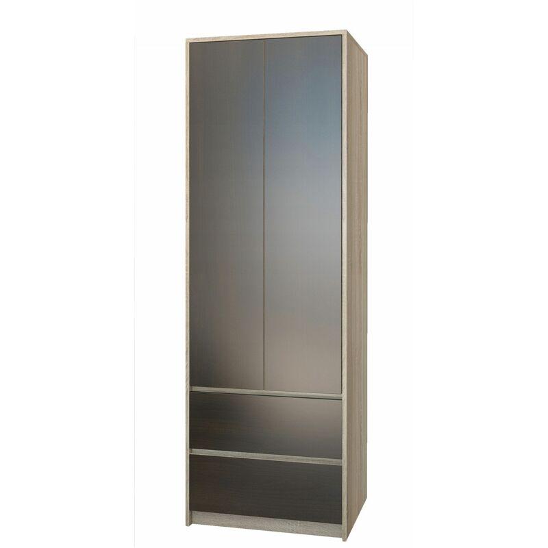bristol armoire chambre bureau 63x55x180 cm penderie multifonction 2 portes 2 tiroirs meuble de rangement dressing sonoma wenge