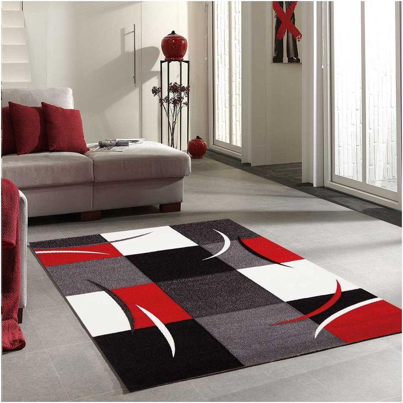 80x150 un amour de tapis diamond comma tapis moderne design tapis entree et tapis chambre tapis rouge gris noir creme couleurs et
