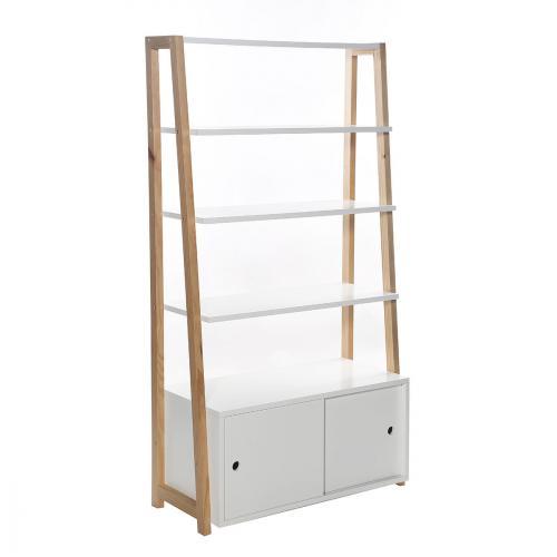 meuble bibliotheque generique etagere 4 tablettes stan 86 x 160 cm blanc bois