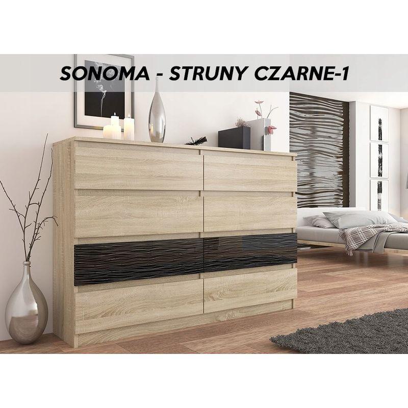 fira s1 commode contemporaine chambre salon bureau 140x40x98 cm 8 tiroirs meuble de rangement scandinave dressing sonoma noir