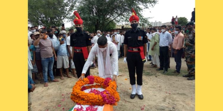 Indian Army, Army Jobs, state honor , Funeral of martyr jawan, martyr jawan, Alwar Hindi News, Hindi News Alwar,