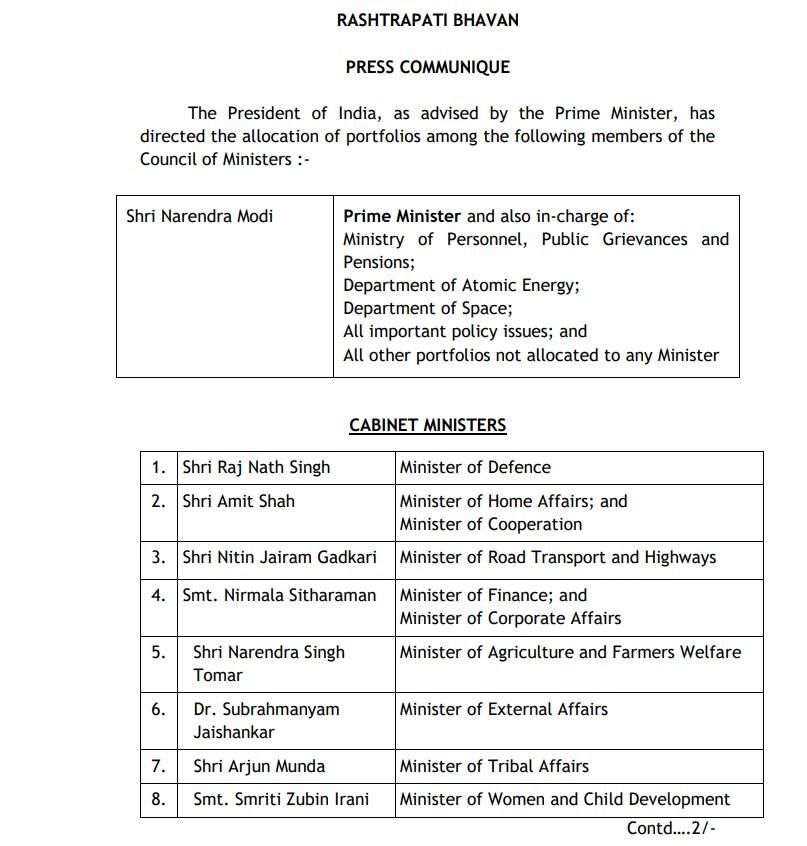 Modi Cabinet Expansion, Narendra Modi, PM Modi, Full list of ministers in Narendra Modi's government,