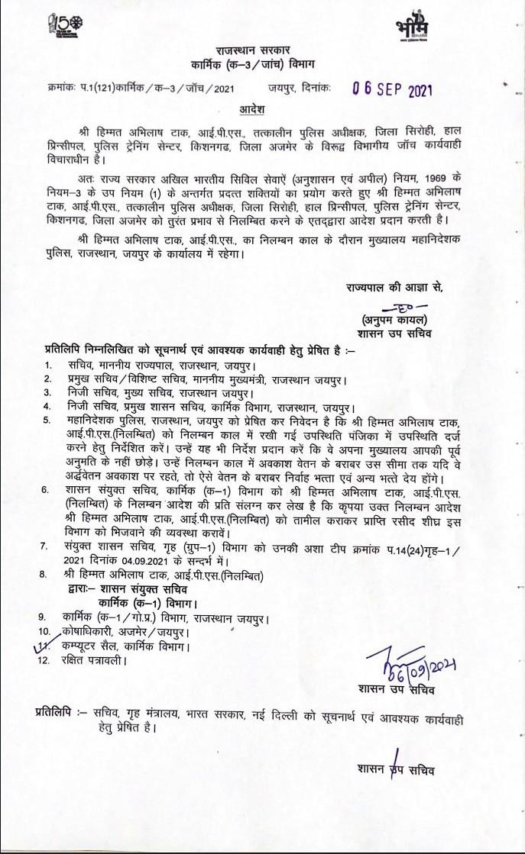 DOP Rajasthan,Suspends IPS Himmat abhilash tak