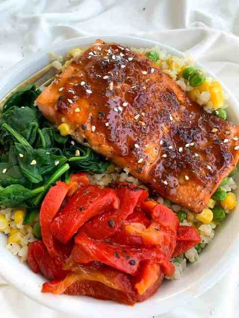 Honey Garlic Salmon Bowls Easy Dinner For Two In Under 15 Minutes