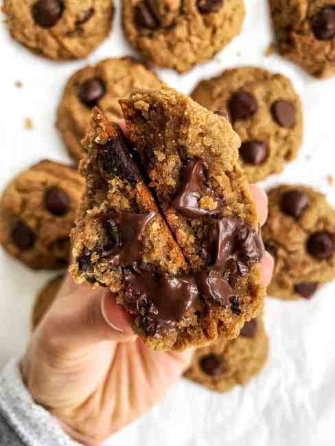 vegan and gluten free chocolate chip chickpea cookies