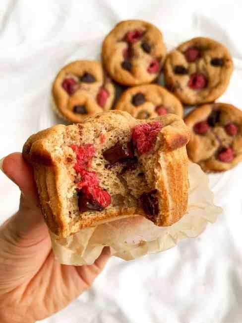 Healthy Dark Chocolate Raspberry Banana Muffins