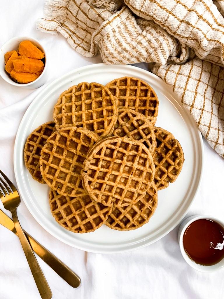 Whole Wheat Oatmeal Sweet Potato Waffles | Dairy-Free, Healthy Recipe