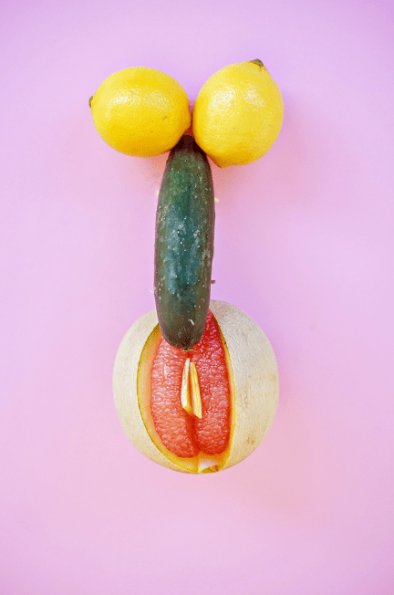 fruit depicting penis and vagina