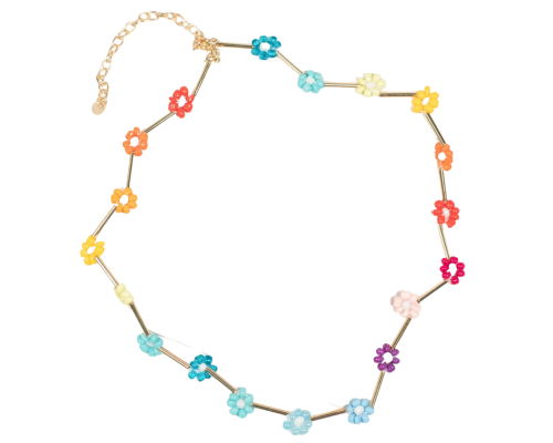 Rainbow Floral Beaded Necklace
