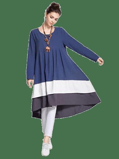 Anysize Tri-Colored Linen Dress   M - 5X