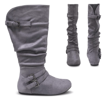 Twisted Shelly Flat Mid Calf Slouch Boots