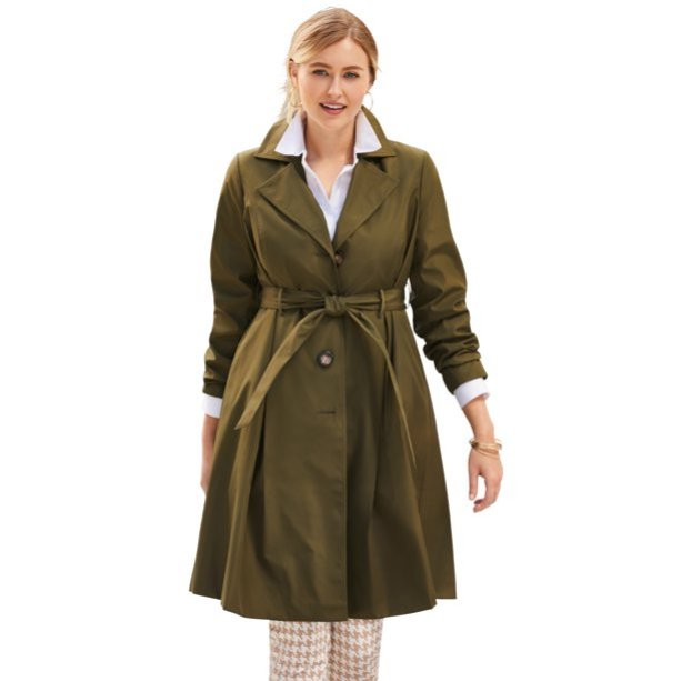 Jessica London pleated trench in Olive