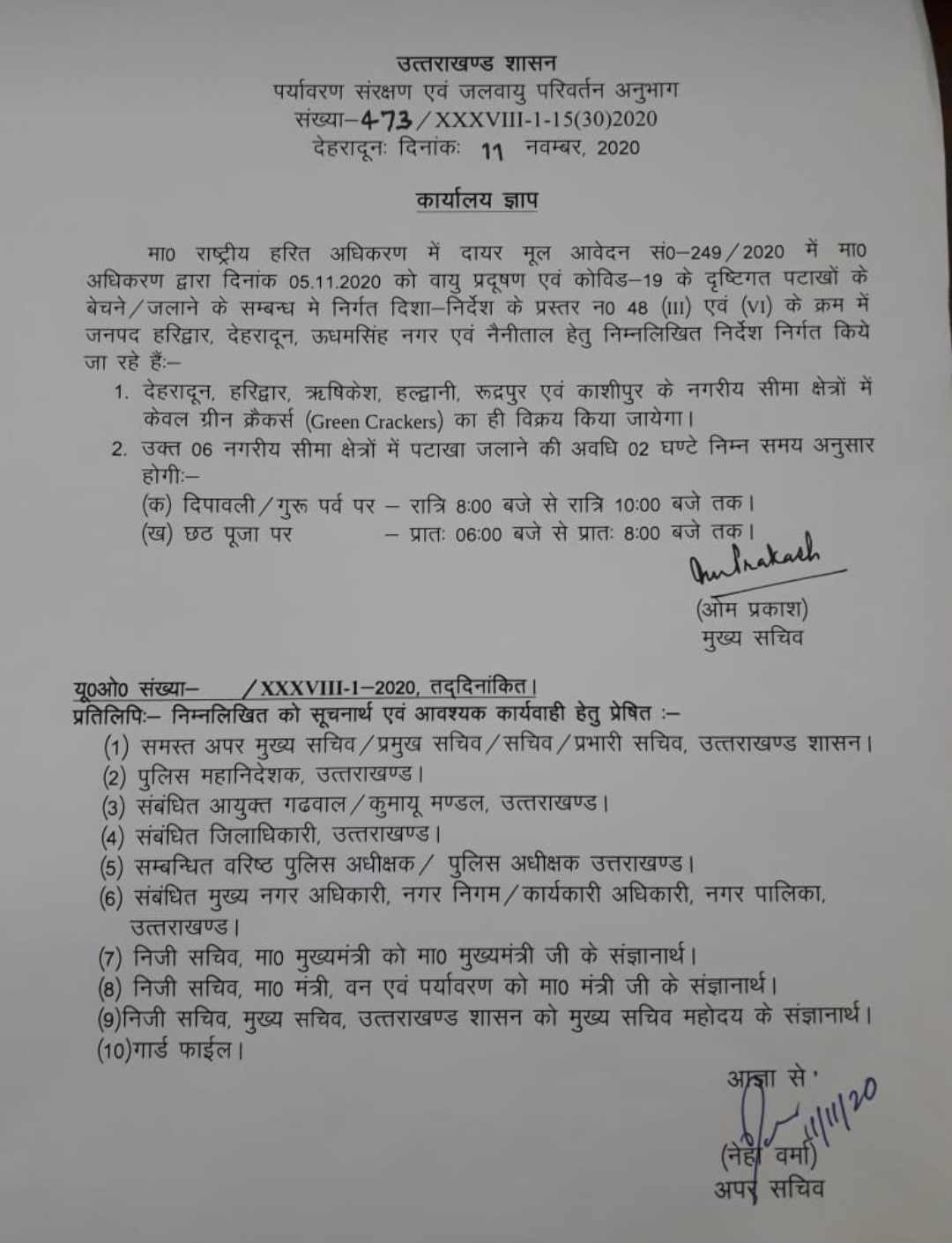 उत्तराखंड: इन 06 शहरों में दीपावली पर केवल 2 घण्टे ही जलाए ग्रीन पटाखे, मुख्य सचिव ने किए आदेश जारी 2