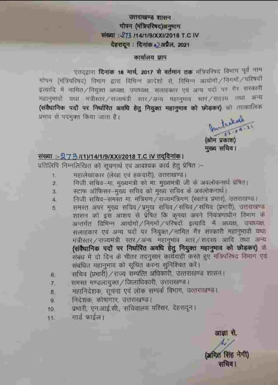 मुख्यमंत्री तीरथ सिंह रावत ने त्रिवेंद्र के कार्यकाल में बनाए गए दायित्व धारियों पर गिराई गाज, सभी दायित्व धारियों की छुट्टी 2