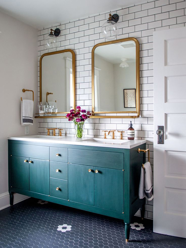 Brass bathroom mirror inspiration | Hello Victoria
