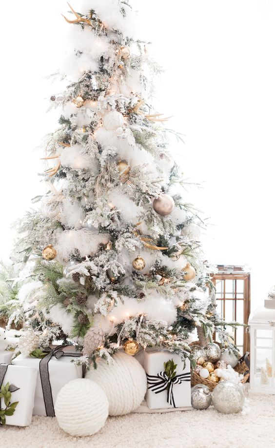 Flocked Christmas tree inspiration | Hello Victoria