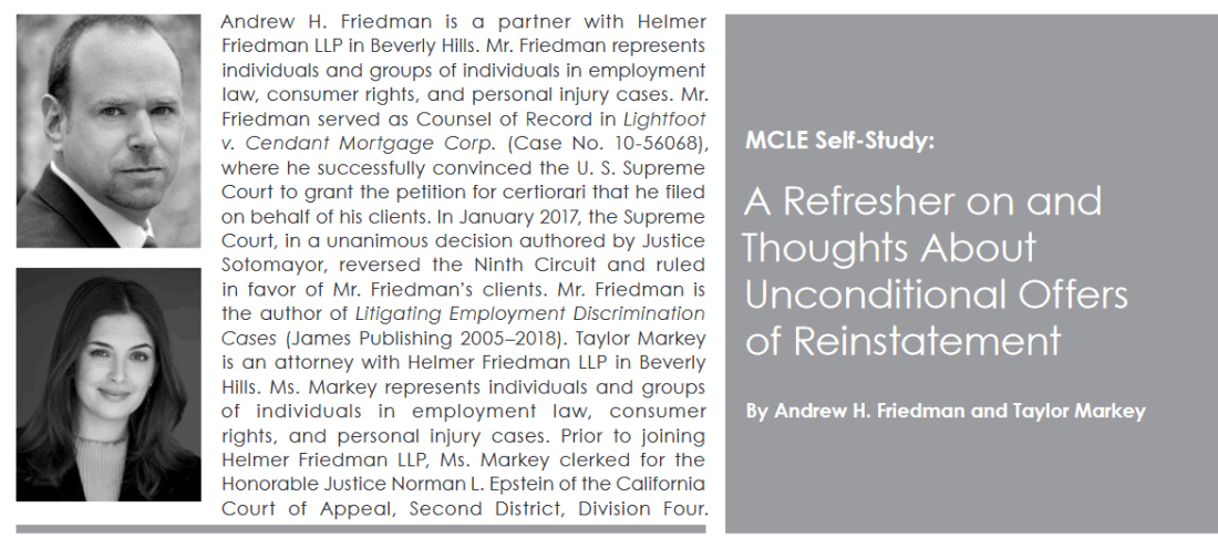 Andrew Friedman, Taylor Markey Employment Law Article Published.