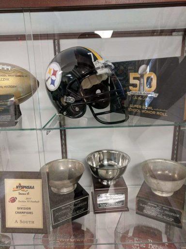 Justin Strzelczyk replica helmet on display at West seneca West High School (NY)