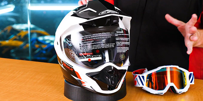 Dual Sport Helmet with Goggles