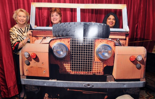 Britt Huff & Sharon Ryan enjoy a safari jeep ride with Anna Pinto, of Micato Safaris, who donated the luxury safari raffle item.