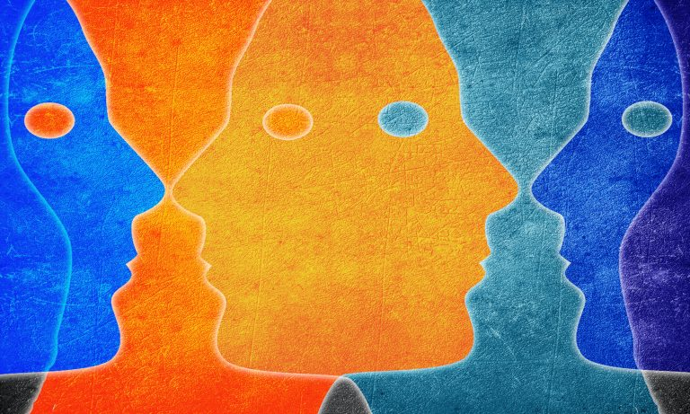 Illustration, bold colors, overlapping faces in profile