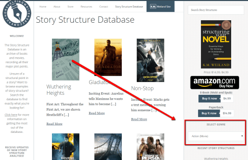 Drop-Down Genre Menu for Story Structure Database