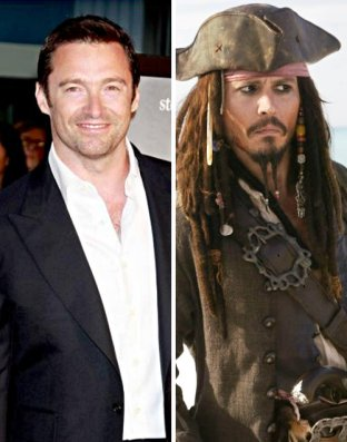 Hugh Jackman Johnny Depp Captain Jack Sparrow Pirates of the Caribbean