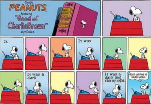 Snoopy at the Typewriter It Was a Dark and Stormy Night Charles Schulz