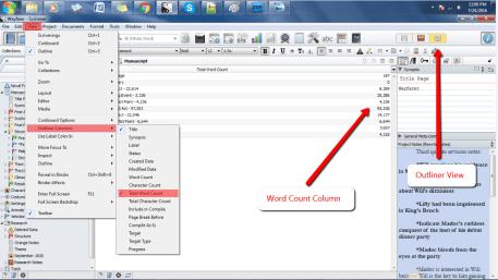 Word Count Meta Data in Scrivener's Outliner