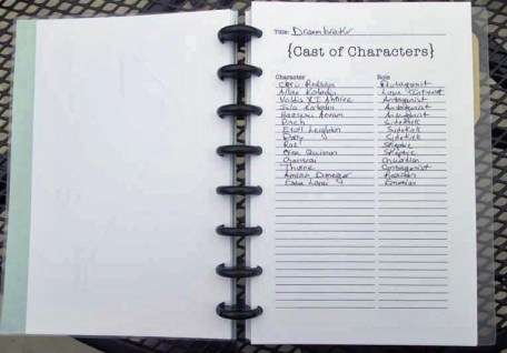 WriteMind Planner Writing Journal Cast of Characters