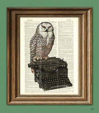 3 Owl Typewriter Print