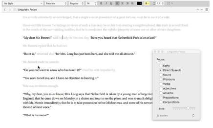 Scrivener 3 Linguistic Focus Mode