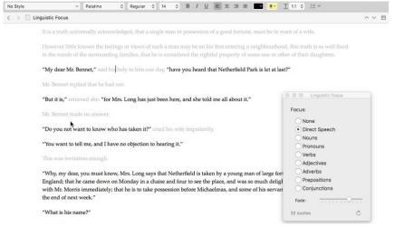 Scrivener 3 Linguistic Focus Mode