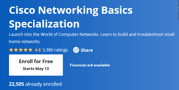 Free Coursera Cisco networking course