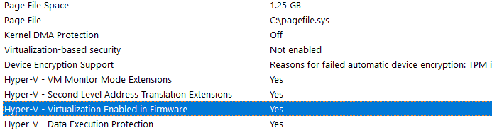 Virtualization enabled in firmware