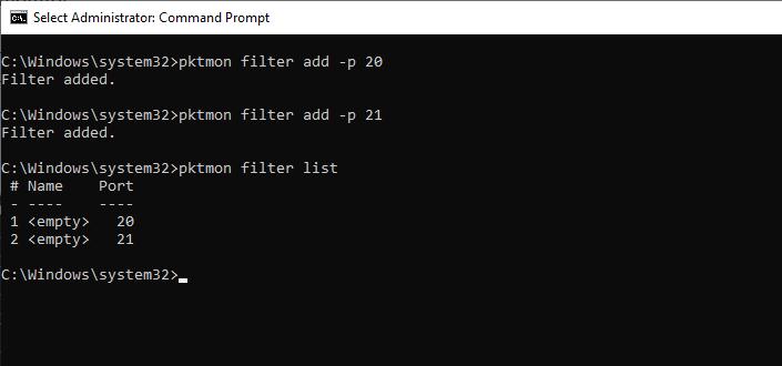 PktMon filter list