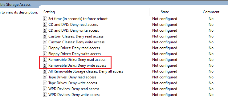 Restrict USB device Read Write access Windows 10